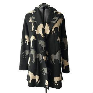Anthropologie Horse Dressage Wool Sweater Jacket